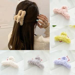 2021 New Plush Hair Clips Claws Women Faux fur Hair Claws Hairgrips Hair Accessories Korean Hairgrip Barrette Crab Ornaments