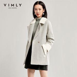 Vimly Женщины полосой шерстяное пальто осенью зима винтаж отворота двойной грудью сгущает карманные куртки женские пальто 30121 201223