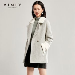 Vimly Women Women Stripe Wool Abrigo Otoño Invierno Vintage Lapel Doble Breasted Espesar Pockets Chaqueta Mujer Outcoat 30121 201223