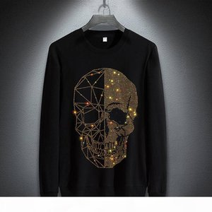 Januarysnow Brand Fashion Designer Winter Hoodies Mens Skulls Rhinestones Long Sleeve T Shirts Modal Cotton O Neck Short Sleeve Slim Hoodie