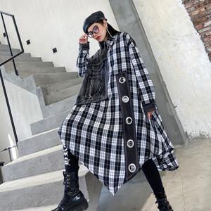 LuLu Max 2020 Spring Korean Style Ladies Loose Dresses Womens Denim Patchwork Dress Plaid Vintage Streetwear Vestidos Plus Size C0121