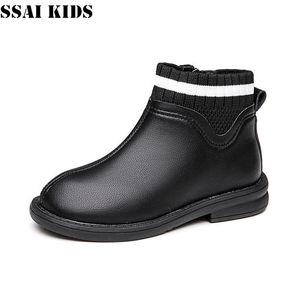 SSAI KIDS Girls Plus Velvet Snow Boots 2020 New Winter Leather Boots Children Shoes Baby Socks Martin 26-37