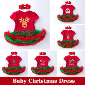 2Pcs Set Bow Headwear Newborn Baby Girl My 1st Christmas Costume Santa Elk Xmas Snowman Tutu Romper Fancy Mesh Lace Dress 0-24M