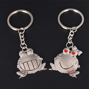 1 paire Love You Big Mouth Frog Key Ring Day de Keyholder Saint-Valentin cadeau romantique d'amants Couple Porte-clés