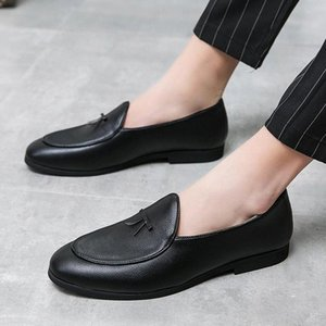 Mens Leather Flats Black Driving Moccasins Summer Slip On Mens Footwear Brand Sperry Social Shoes outdoor tassel party shoes men #Q94G