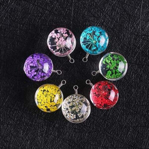 New Arrival 15mm Dried Flower Glass Pendant Charm for Necklace Earring Colorful Transparent Ball Shape Jewelry Charm Wholesale