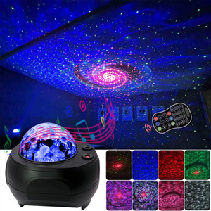 Laser LED Starry Sky colorido Oceano Projector Night Light Remote Control Ocean Wave Projeção presente Lamp Com o Natal Bluetooth