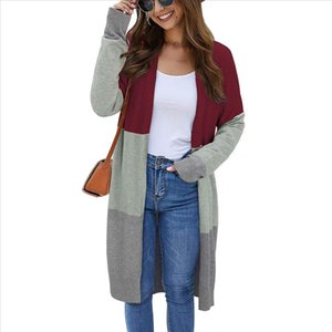 2020 Fashion Womens Spring Autumn Sweaters Open Front Cardigan Long Sleeve Colorblock Knit Sweaters With Pockets