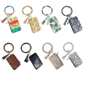 Women Fashion Floral Leopard Leather Bracelet Keychain Credit Card Wallet Key Rings with Tassel Wristbands Clutch Purse HWB4409