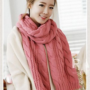 Luxury-Women's Scarves Thickened Warm Foulard Femme Blended Comfortable Large Scarf Hijab New Solid 8-knot Knitting Twist Wool Shawl