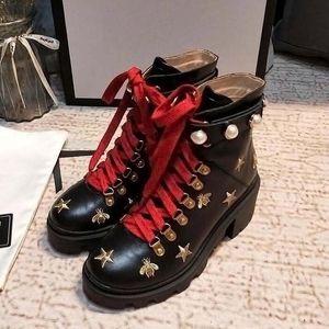 New Arrival Brand Women Boots Luxury Designer Thick Heel Desert Platform Boot Bee Star Genuine Leather Winter Shoe pob9