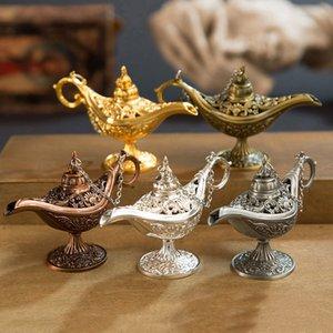 الجنية حكاية علاء الدين ماجيك مصباح خمر مبخرة الإبداعية المعادن رائحة الموقد متعدد الألوان البخور الشعلات هدية عيد GWF4372