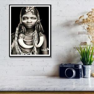 Afrikalı Kadınlar Adam Duvar Sanatı Portre Ev Dekorasyon Siyah Ve Beyaz Oturma Odası Tuval Boyama Duvar Resimleri Quadro Cuadros