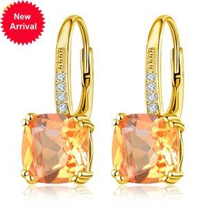 Boucles d'oreilles d'agrumes jaunes Hutang 3.94CT 925 Silver Sterling 12 Gems naturels Bijoux cristallins raffinés pour femme Noël