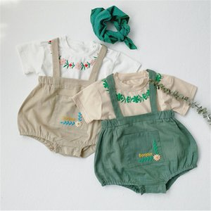 Lovely Korean Baby Clothes Embroidery Floral Tee Shirt+Pumpkin Bodysuit Baby Boys Girls Clothing Set Newborn Infant Outfit Suits C1118