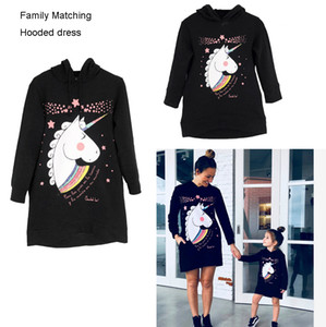 Unicorn printed Family Matching dress Mother Daughter long sleeve hooded Dresses Cartoon Print Women Girls Pullover Gown costume