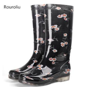 ROUROLIU MUJER MUJER HAY RAINBOOTS ABIENTE A prueba de agua Zapatos de agua Wellies Botas de lluvia de PVC antideslizante Mujer RB268 Q1216