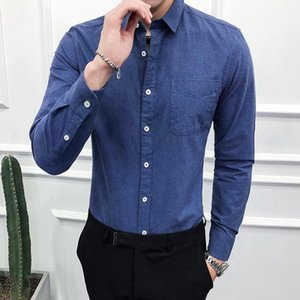 5 Colors Long Sleeve Oxford Shirt Men Single Breasted Plain Color Pocket Front Streetwear Workout Casual Shirts Male Plus Size