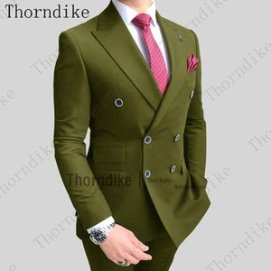 Thorndike Men's Suit Green Formal 2 Piece Slim Fit Double-breasted Notch Lapel Prom Grey Tuxedo Wedding Groomsmen (Blazer+Pants)