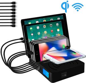 شاحن USB متعدد USB شاحن لاسلكي سريع لفون 8 × 11 برو Samsung S10 LCD عرض سريع الشحنة Carregador Dock