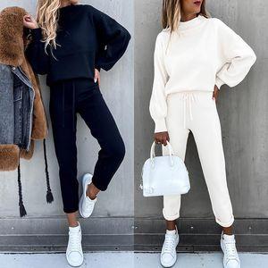 Causal Tracksuit 2 Piece Set Autumn Winter Pullover Hoodie + Long Pants Sports Suit Female Sweatshirt Sportswear Suit for Woman Y201128