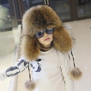 Kinder Leder und Pelz Lei Feng Hut Männlich Mädchen Fuchs Mao Dongji Baby Northost im Freien Halten Sie warme kaltsichere Verdickung Hüte TIDE Y200110