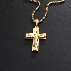 Hip Hop Rock Christian Jesus hollow cross Stainless Steel Gold Necklace Pendant For Men Male Punk Gothic jewelry