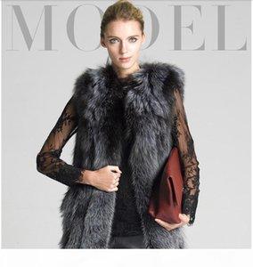 Faux Silver Fur Vest Jacket Thick Warm Medium Long Waistcoat Coat For Women S-4XL Plus Size Casaco de falso pele E61