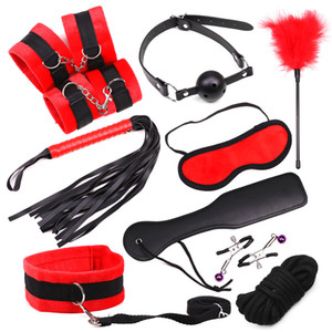10 Pcs Set Bondage Fetish Kit Restraints Collar Slave Sex Toys for Woman Handcuffs Ball Gag Mask Whip Sex Products for Couples Q1126