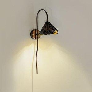 Новый китайский стиль китайский настенный светильник спальня прикроватная гостиная стена проход коридор листьев лотоса японская лампа