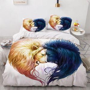 3D Animal Yin Yang Design Bedding Set Duvet Cover Set Comforter Bed Linen Double King Queen Single Size Lion Home Textile