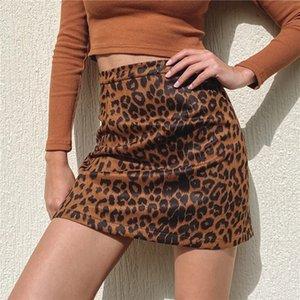 Зимняя осень замшевые ткани леопардовые юбки платье женщины женские девушки тощая узкая короткая юбка бутик хип-хоп вечеринка клуб бар одежды LY120701