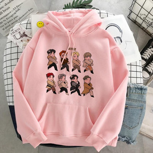 Harajuku ATEEZ Kpop Hoodies Pullover Women Friends Sweatshirt Elclothes Gant Ladies Sport Hoodies White Black Casual