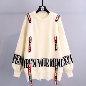 Women New Letter Print Hole Knit Jumper Sweater 2020 Drawstring Decoration Korean Pullover Tops casual knit Sweater Female