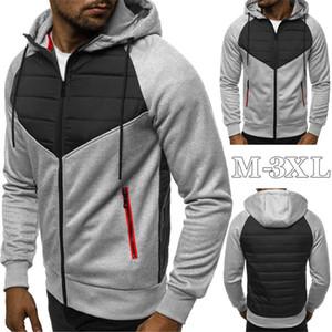 Men's Hoodies & Sweatshirts Mens 2021 Casual Slim Zipper Hooded Sweatshirt Men Full Sleeve Patchwork Oversized Hoodie Cardigan