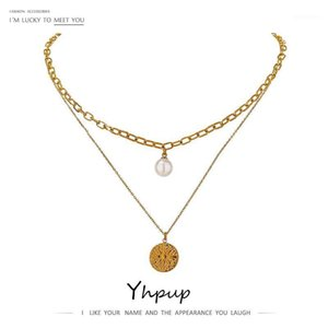 Yhpup Elegant Imitation Pearls North Star Layered Necklace for Women Stainless Steel Choker Metal Necklace 18 K Accessories1