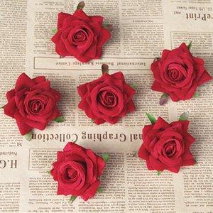 Hot 50pcs lot Wedding Party Decoration 10cm Large Size Flannel Red Rose Artificial Flowers Heads Ceremony Events Banquet Decor Z1120