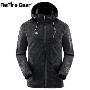 ReFire Gear Camo Hooded Jackets Men Autumn Waterproof Camouflage Tactical Jackets Casual Spring Long Sleeve Windbreaker