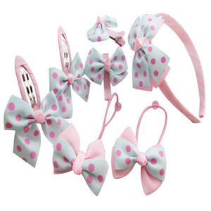 Gilrs Headwear Set Hairpins Elastic Hair Bands Handmade Dots Headbands Hair Clips Girls Accessories 2020 New