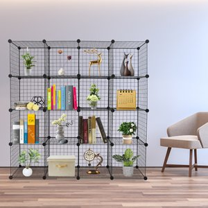 16-Cube estantes de almacenamiento de estantes de metal Cubo de almacenamiento de Origami red del metal multifunción Estantería modular Estantería Cachorros Organizador