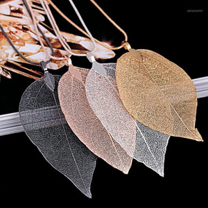 2021 Sweater Coat Necklaces Ladies Girls Special Leaves Leaf sweater Pendant Necklace Long Chain Jewelry for Womens bijou Gift1