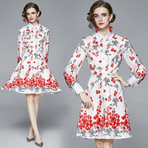 Floral Girl Dress Long Sleeve Lapel Autumn New Womens Dress High-end Fashion Lady Dress