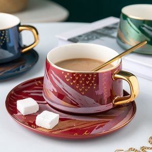 GLLead Creative Ceramic Coffee Cup Saucer Spoon Set 200ml Flower Tea Cups Nordic Advanced Teacup Porcelain Y1124