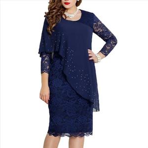 Elegant Dress Women Lace Long sleeve Solid Color O Neck 3 4 Sleeve Party Dresses Banquet Slim Knee length Dress