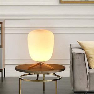 E27 Ultra Modern Mini Fashion Frosted Glass Lampshade and Wooden Bracket Texture Study Table Lamp with Light Source US Plug Indoor