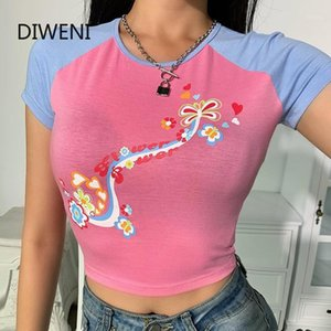 Diweini femminile Punk Harajuku Stampa manica corta T Shirt Streetwear BodyCon Stampa floreale Tops Casual Blue Pink Patchwork T-Shirt1