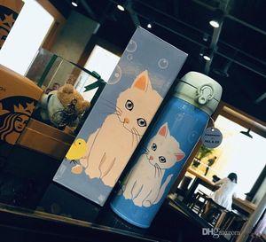 Sıcak Yeni Starbucks Paul Joe Paslanmaz Çelik Kedi Mavi Tumbler 500 ml Eşlik Vakum Fincan Kahve Fincanı Hediye Kutusu