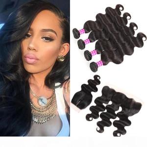 Wholesale Brasileña Malasia India India Virginal Cuerpo Body Wave Remy Human Hair Weave Bundles con cierre frontal Extensiones de cabello TRATAMIENTOS