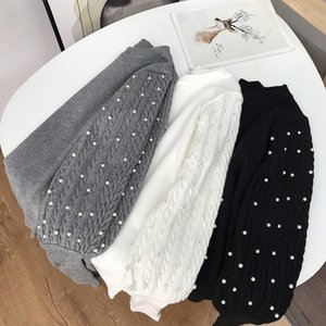 Round neck Pullover Sweater women's long sleeve pearl temperament Korean fashion autumn winter new k#17