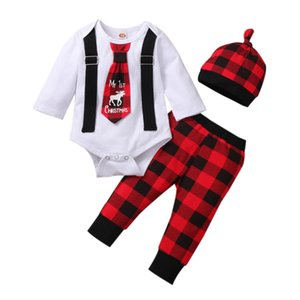 3PCS Newborn Baby Suit My 1st Christmas Toddler Boy Girl O-neck Long Sleeve Necktie Romper Red Black Plaid Trousers and Hat